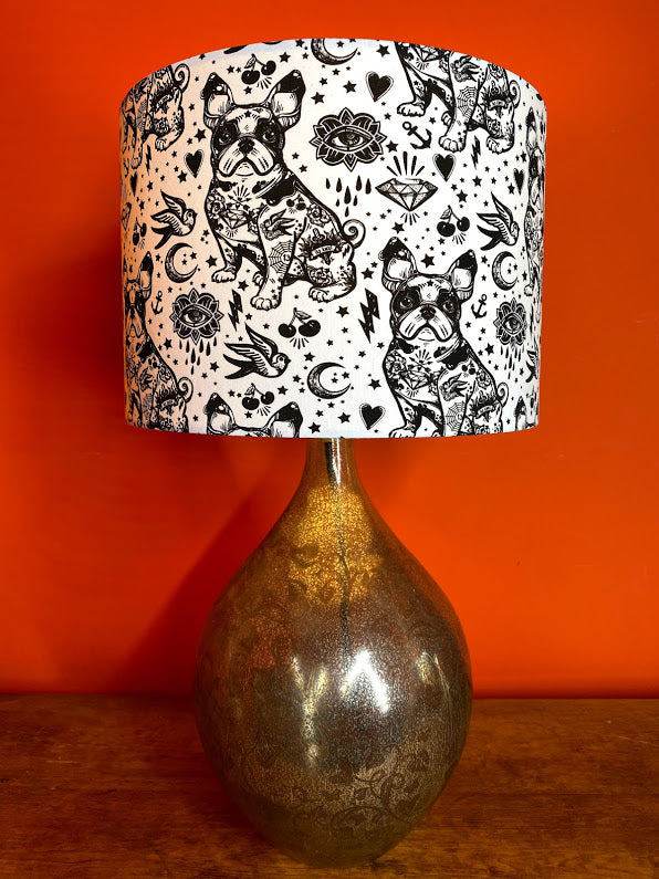 french bulldog lampshade decorated with tattoos in black and white monochrome