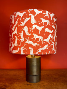 cheetah lampshade with orange background