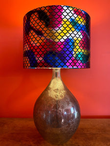 Mermaid scale lampshade with rainbow colour shiny multi coloured