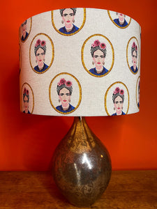 Mexican woman lampshade with flowers in her hair large lampshade
