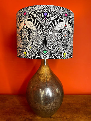 monochrome black and white peacock lampshade with neon heart decoration beautiful unusual funky