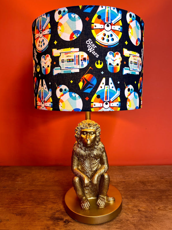 Navy blue background star wars lampshade