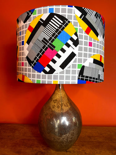 tv test card lampshade bright colours with grey and white check pattern