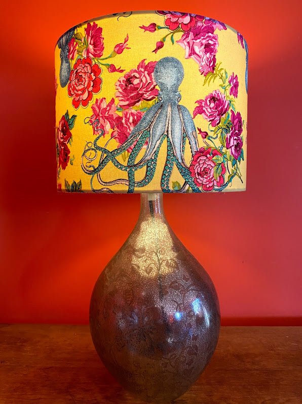 Blue octopus with pink roses and yellow background lampshade for a lamp base