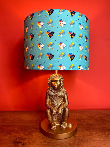 turquoise lampshade with star wars theme