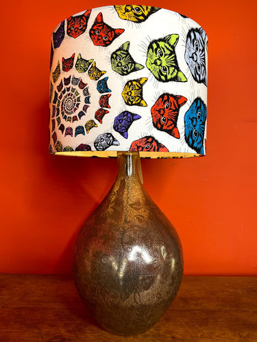 psychedelic cat pattern lampshade with white background and multi coloured cat heads