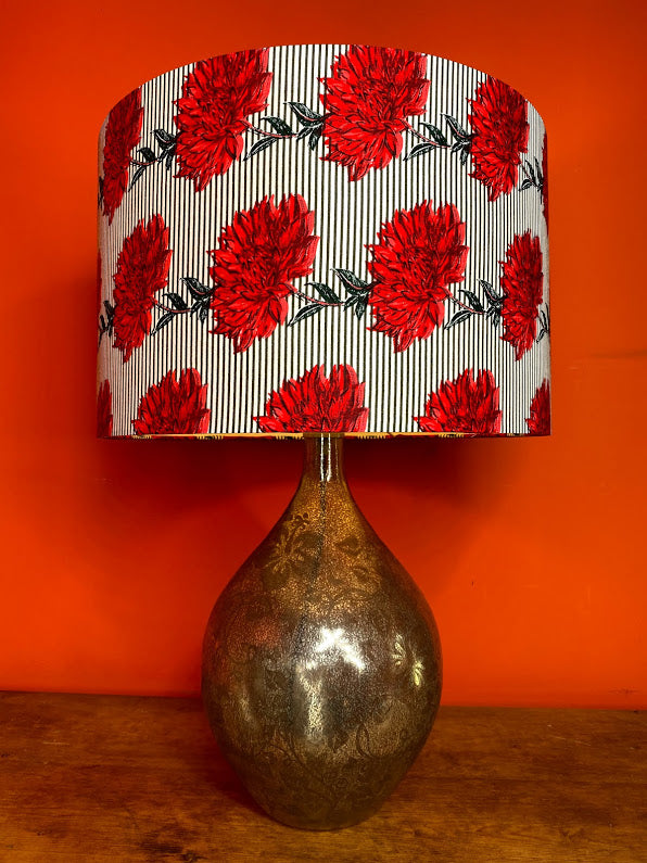 Beautiful red flowers on a grey stripe background large lampshade