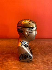Phrenology Head Storage Jar - Gold - Small