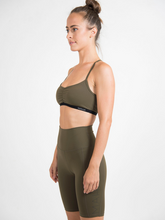 Load image into Gallery viewer, olive sports bra Hydra Bra ethical activewear brand Maha Yogi