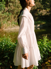 Load image into Gallery viewer, ROU SO white tiered sophia dress made ethically with deadstock fabric