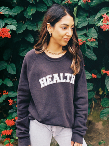 Healthy eco fleece sweatshirt Plantdays organic cotton and recycled polyester made in USA