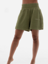 Load image into Gallery viewer, Calathea forest green sweat shorts Maha Yogi ethical sustainable brand comfy loungewear