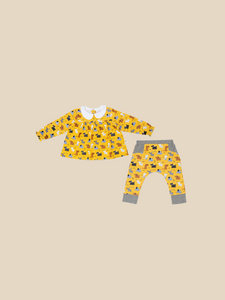 100% certified GOTS organic cotton children's blouse and pants set ethical kids clothing sustainable brand Cotton Pigs