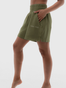 Calathea forest green sweat shorts Maha Yogi ethical sustainable brand comfy loungewear