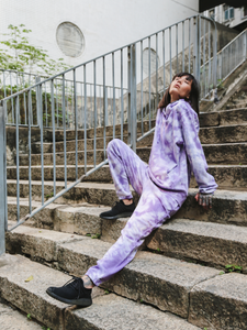 purple lilac tie-dye loungewear trousers 100% organic cotton Maha Yogi ethical brand