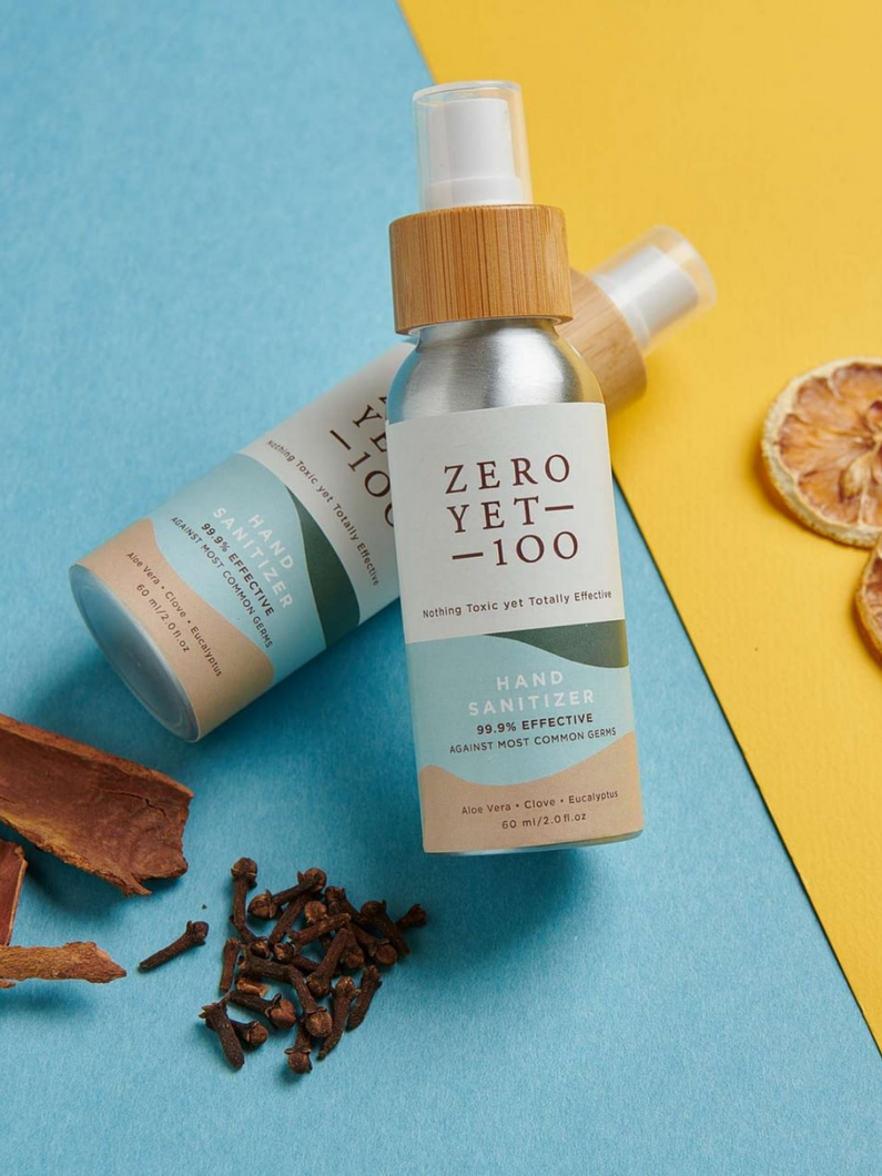 the BEST hand sanitizer ever that smells amazing and is all-natural and cruelty-free Zero Yet 100