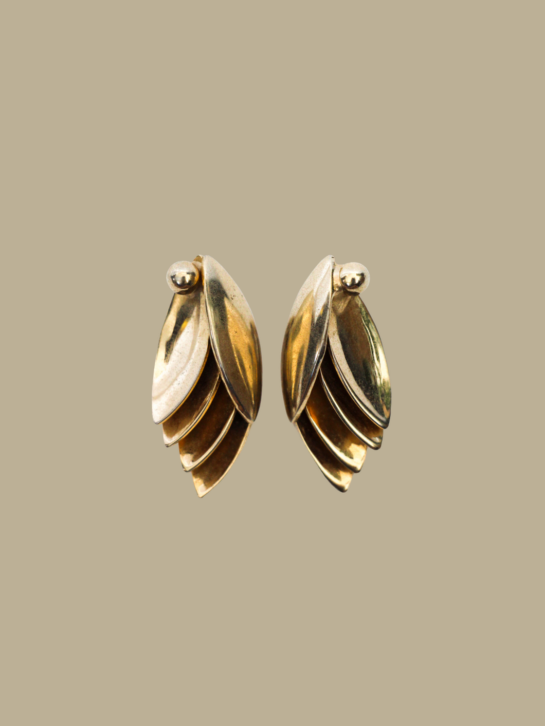 vintage gold earrings clip-on closure