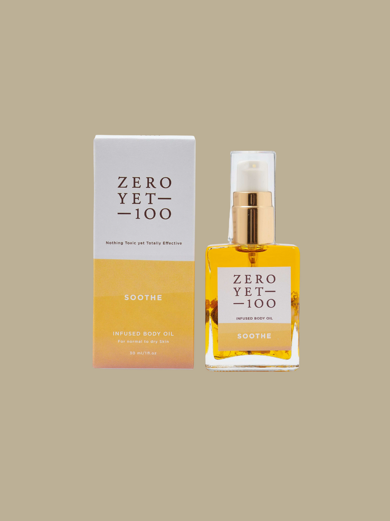 Zero Yet 100 soothe body oil cruelty-free natural skincare