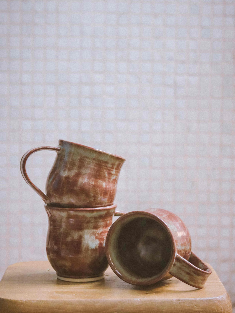 green shino style handmade ceramic mug The Broke Potter made in Hong Kong