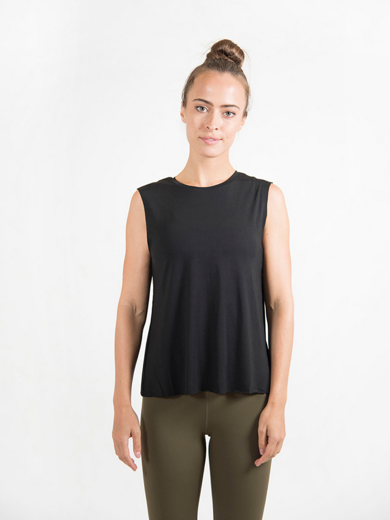 Maha Yogi black tank top 100% modal ethical activewear