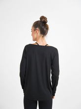 Load image into Gallery viewer, black long sleeve Modal knit tee perfect streamlined top for workout junkies Maha Yogi ethical activewear