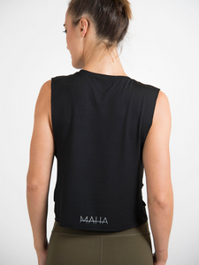 Maha Yogi sugba tank top black ethical activewear modal tank top yogi wellness brand