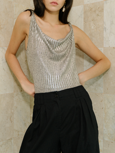 Cecilia cowl neck bodysuit in metallic silver ROU So ethical fashion brand