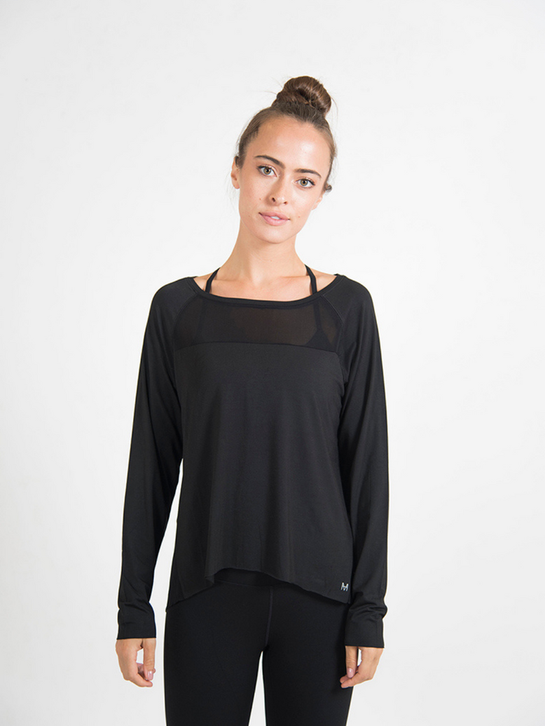 black long sleeve Modal knit tee perfect streamlined top for workout junkies Maha Yogi ethical activewear