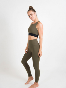 Maha Yogi Maya bra upcycled from deadstock fabric ethical activewear olive green