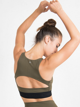Load image into Gallery viewer, Maha Yogi Maya bra upcycled from deadstock fabric ethical activewear olive green