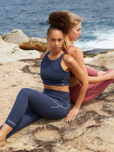 Maha Yogi Luna Bra blue ethical activewear sustainable fashion brand