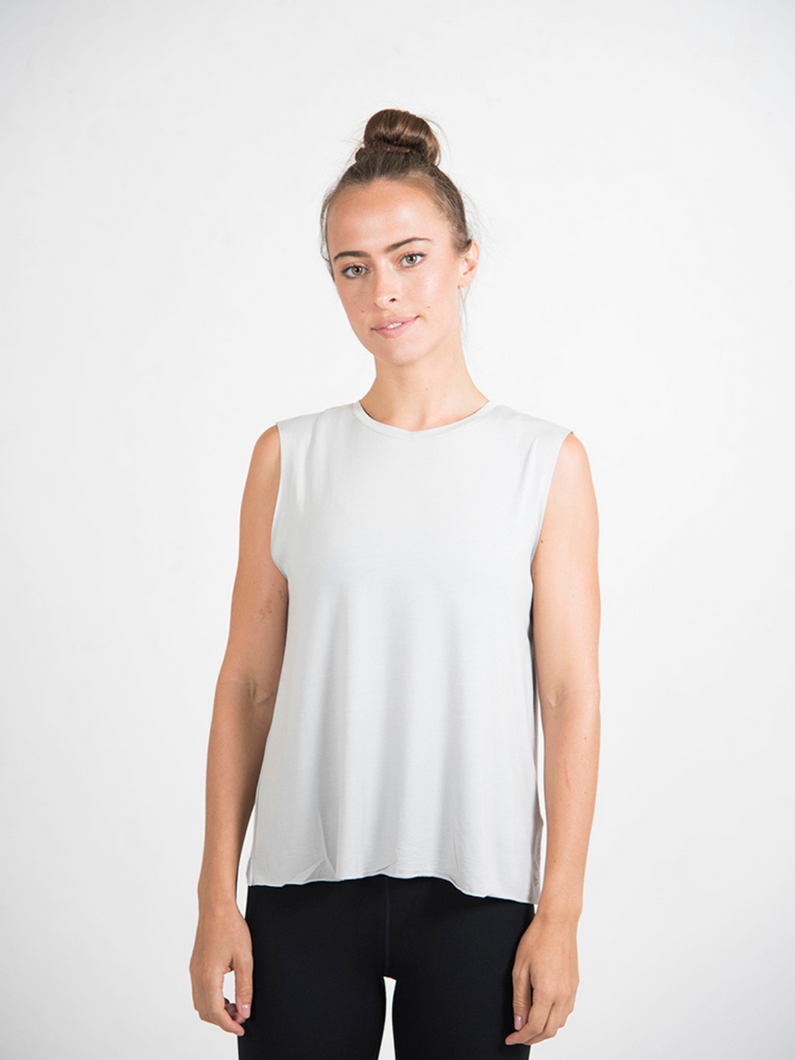Mamon 100% modal tank top grey ethical activewear Maha Yogi