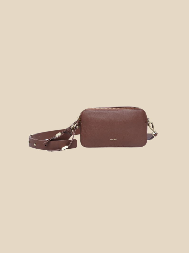 Ril Creed Polly crossbody bag ethically made from upcycled scrap leather ethical fashion brand based in Hong Kong