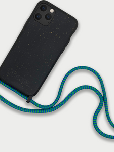 Sustainable Crossbody Phone Case / Granite Black & Blue Green