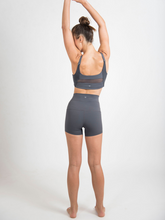 Load image into Gallery viewer, LUNA shorts ethical activewear Maha Yogi made from upcycled deadstock fabrics grey