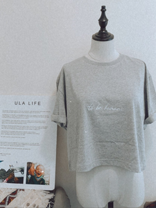 Ula Life To Be Human crop t-shirt 100% organic cotton tee that gives back to help Tibetan children in need