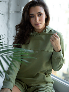 forest green Calathea Hoodie Maha Yogi ethical activewear brand Hong Kong sustainable fashion brand