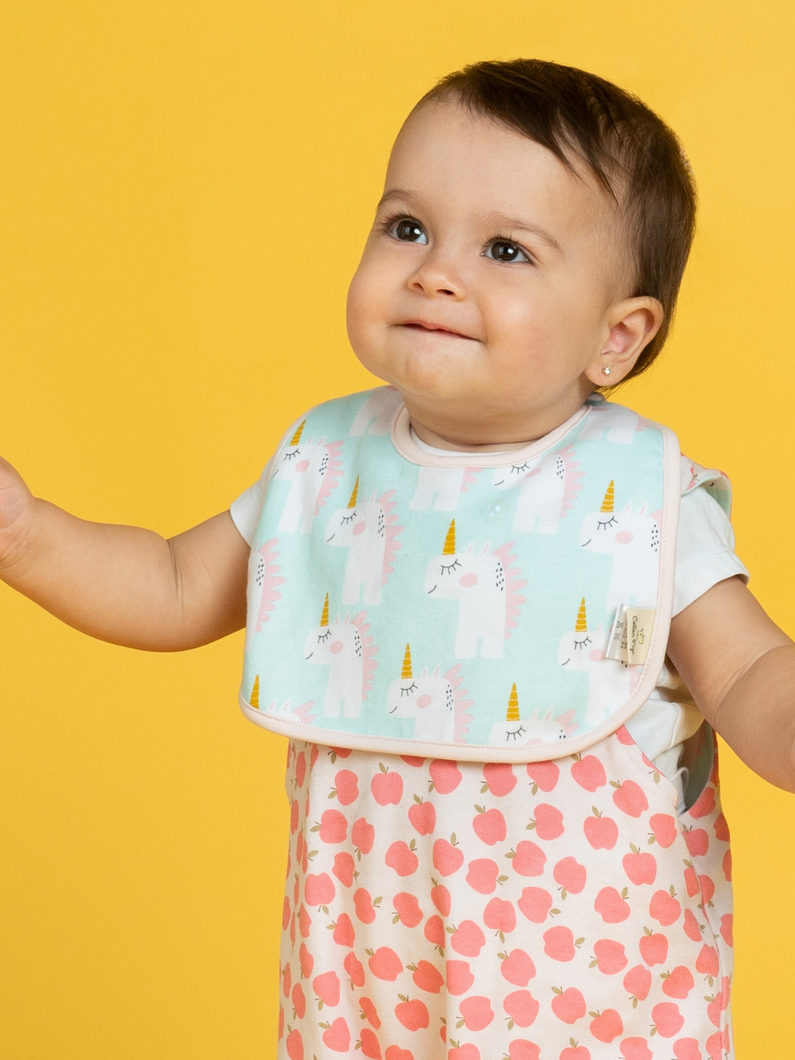 100% certified organic cotton romper and bib set apples and unicorns Cotton Pigs eco-friendly children's and baby clothing