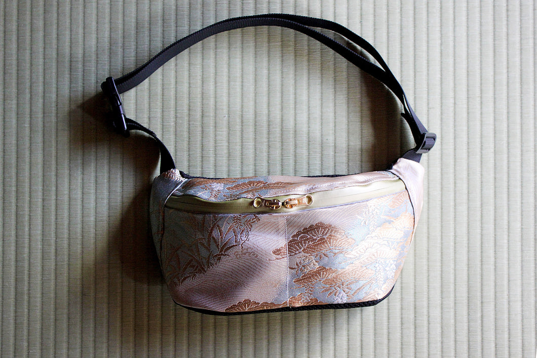 Wisteria & Pearl River bum bag made sustainably handcrafted in Japan from antique kimonos