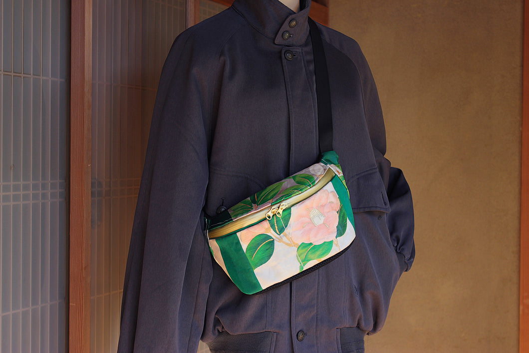 Camellia bum bag handcrafted in Japan from antique silk kimonos