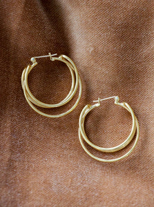 yellow gold tone hoop earrings vintage