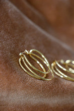 Load image into Gallery viewer, yellow gold tone hoop earrings vintage