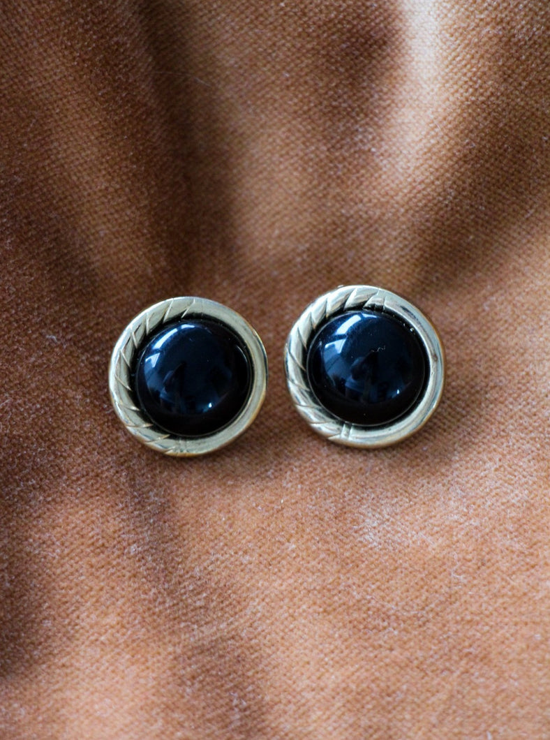 vintage gold tone & black earrings shop sustainably