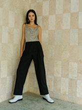 Load image into Gallery viewer, Cecilia cowl neck bodysuit in metallic silver ROU So ethical fashion brand in Hong Kong