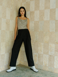 Cecilia cowl neck bodysuit in metallic silver ROU So ethical fashion brand in Hong Kong