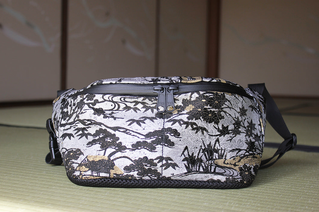 Southern japan landscape beautiful Japanese handcrafted bum bag made sustainably from antique kimono fabric