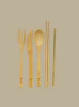 Load image into Gallery viewer, bamboo 100% natural eco-friendly reusable cutlery set