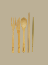 Load image into Gallery viewer, bamboo zero waste essential cutlery  natural eco-friendly