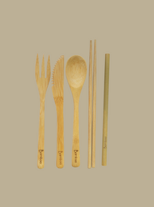bamboo zero waste essential cutlery  natural eco-friendly