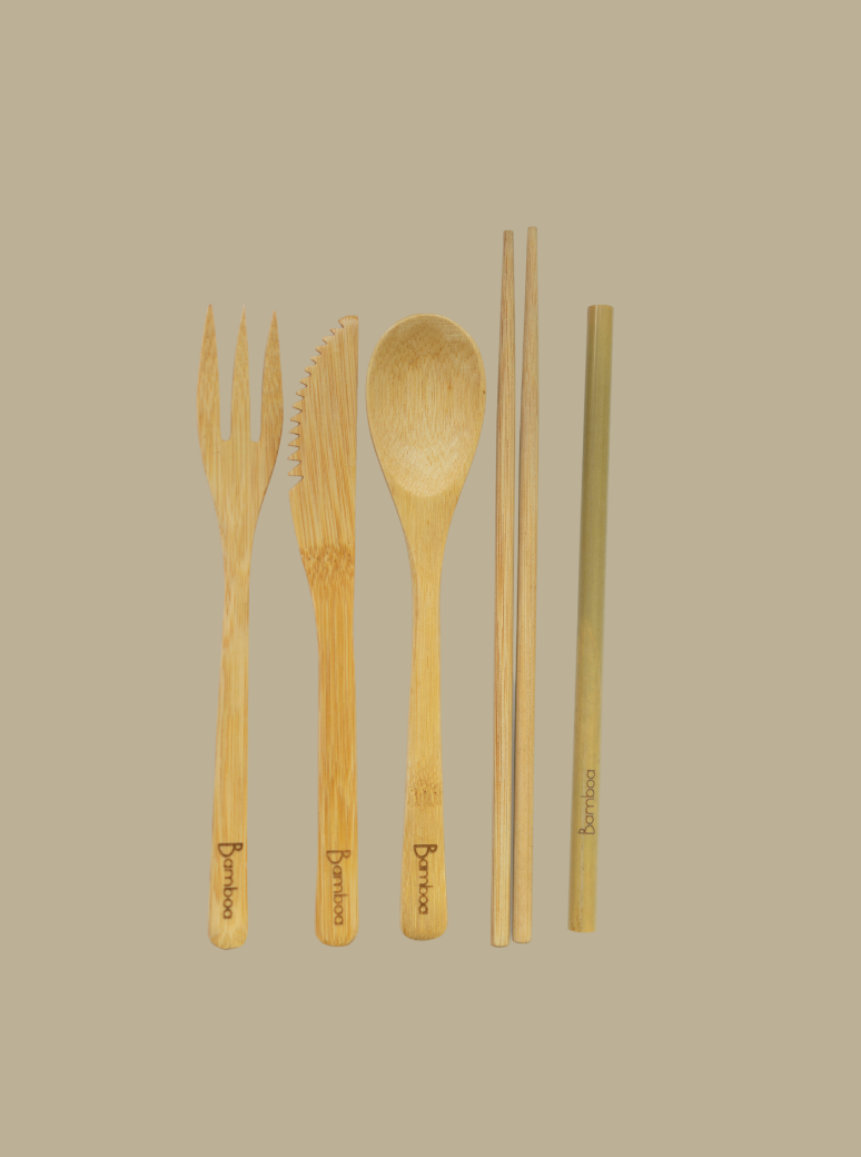bamboo 100% natural eco-friendly reusable cutlery set
